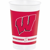 Red and white University of Wisconsin 20 oz Plastic Cup sold in quantities of 8 / pkg, 12 pkgs / case