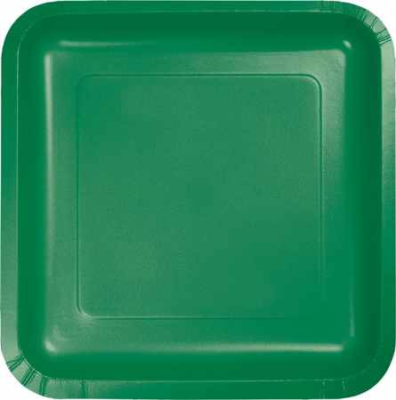 Touch of Color Emerald Green Square Dessert Plates in quantities of 18 / pkg, 10 pkgs / case