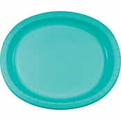 Teal Lagoon Oval Plates 96 ct