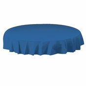 "Blue Plastic Octy-Round Tablecloths measures 82"" diameter sold in quantities of 1 / pkg, 12 pkgs / case"