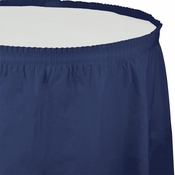Touch of Color Navy Plastic Tableskirt in quantities of 1 / pkg, 6 pkgs / case
