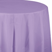 Touch of Color Luscious Lavender Octy-Round Plastic Tablecloths in quantities of 1 / pkg, 12 pkgs / case