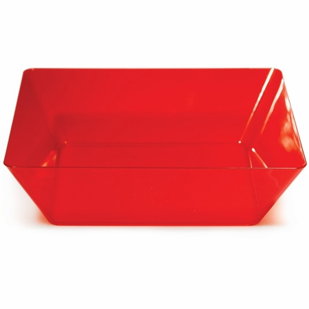 For contemporary styling at competetive prices, choose the Translucent Red TrendWare Large Square Bowl 6 ct sold in quantities of 1 / pkg, 6 pkgs / case