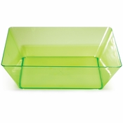 For sleek, modern, plastic serving ware for entertaining, choose the Translucent Green TrendWare Large Square Bowl sold in quantities of 1 / pkg, 6 pkgs / case