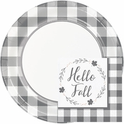 Gray and White Check Fall Party Supplies