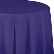 Touch of Color Purple Octy-Round Plastic Tablecloths in quantities of 1 / pkg, 12 pkgs / case