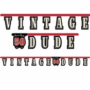 "Vintage Dude Party Banner ""50"" 12 ct"