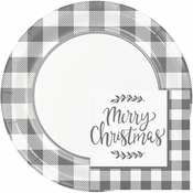 Gray and White Check Christmas Party Supplies