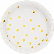 White and Gold Foil Dot Dessert Plates 96 ct