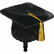 Black Graduation Cap Mylar Balloons 10 ct