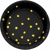 Black and Gold Foil Dot Dessert Plates 96 ct