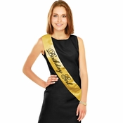 Black and Gold Birthday Sashes 12 ct