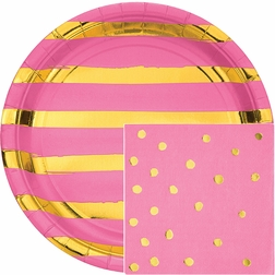 Candy Pink and Gold Foil Party Supplies