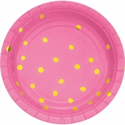 Candy Pink and Gold Foil Dot Dessert Plates 96 ct