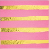 Candy Pink and Gold Foil Striped Luncheon Napkins 192 ct