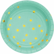 Fresh Mint Green and Gold Foil Dot Dessert Plates 96 ct