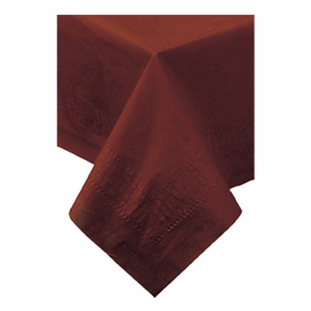 """Chocolate Cellutex Paper Tablecloths 54"""" x 108"""" constructed of 2 ply tissue, 1 ply poly and sold in quantities of 1 / pkg, 25 pkgs / case"""