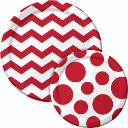 Red and white chevron dinner plate and polka dot dessert plate