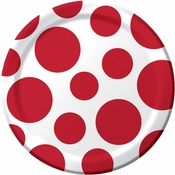 Red and white Polka Dots Dessert Plates measure 6.875 inches and are sold in quantities of 8 / pkg, 12 pkgs / case