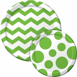 Green and white chevron dinner plate and polka dot dessert plate