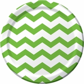 Lime green and white Chevron Dinner Plates measure 8.75 inches and are sold  in quantities of 8 / pkg, 12 pkgs / case