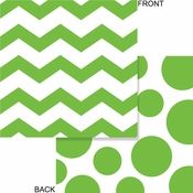 Lime green and white Chevron and Polka Dots Luncheon Napkins measure 6.375 inches and are sold in quantities of 16 / pkg, 12 pkgs / case