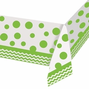 Lime green and white Chevron and Polka Dots Tablecloths measure 52 inches x 102 inches and are sold in quantities of 1 / pkg, 12 pkgs / case