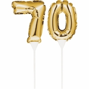 70 Gold Number Balloon Cake Toppers 24 ct