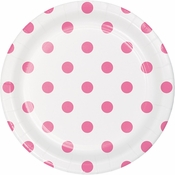 Candy Pink Polka Dots and Stripes Dessert Plates 96 ct