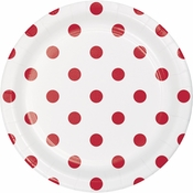 Red Polka Dots and Stripes Dessert Plates 96 ct
