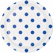 Cobalt Blue Polka Dots and Stripes Dessert Plates 96 ct