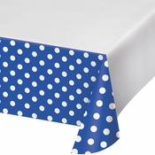 Cobalt Blue Polka Dots and Stripes Plastic Tablecloths 12 ct
