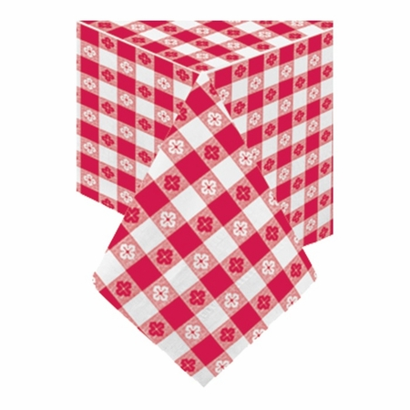 """Red Gingham Cellutex 54"""" x 108"""" Paper Tablecloths are sold in quantities of 1 / pkg, 25 pkgs / case"""