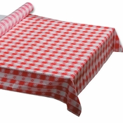 "Red Gingham 40"" x 100 Plastic Banquet Table Roll is sold in quantities of 1 / pkg, 1 pkg /case"