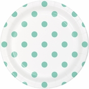 Mint Green Polka Dots and Stripes Dessert Plates 96 ct