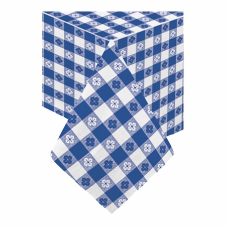 """Navy Gingham Cellutex Paper Tablecloths measures 54"""" x 108"""" constructed of 2 ply tissue, 1 ply poly and sold in quantities of 1 / pkg, 25 pkgs / case"""