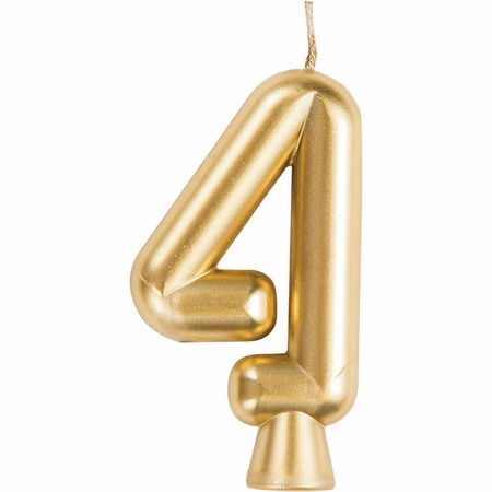 Gold Number 4 Candles 12 ct