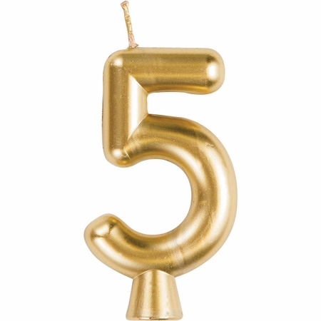Gold Number 5 Candles 12 ct