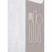 Ivory Vines Cutlery Pouches with Napkin sold in quantities of 600 / pkg, 1 pkg / case.