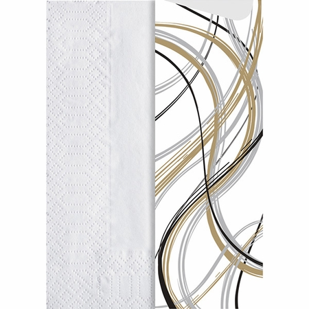White, black, gold and silver Mystic Cutlery Pouches with Napkin sold in quantities of 600 / pkg, 1 pkg / case.