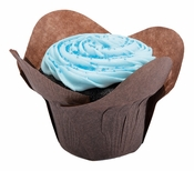 Solid colored greaseproof paper Large Chocolate Lotus Cup 2500 ct bulk case with 10/pkg, 250 pkgs/case.