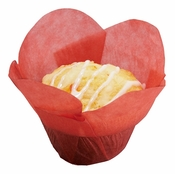 Solid colored greaseproof paper Small Red Lotus Cup 2500 ct bulk case with 10/pkg, 250 pkgs/case.