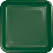 Touch of Color Hunter Green Square Dinner Plates in quantities of 18 / pkg, 10 pkgs / case
