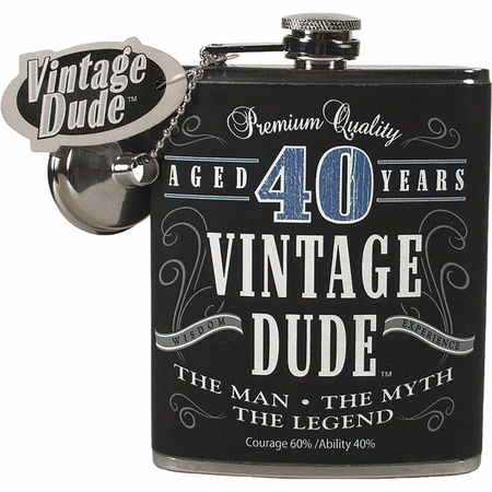 Vintage Dude 40th Birthday Flasks 4 ct