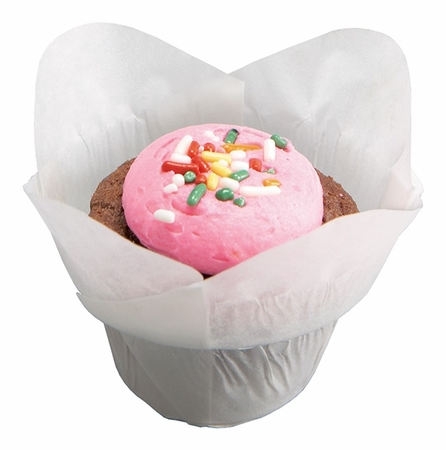 Solid colored greaseproof paper Small White Lotus Cup 2500 ct bulk case with 10/pkg, 250 pkgs/case.