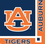 Blue and orange Auburn University Beverage Napkin sold in quantities of 20 / pkg, 12 pkgs / case