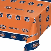 Blue and orange Auburn University Tablecloths sold in quantities of 1 / pkg, 12 pkgs / case