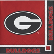 Red and black University of Georgia Beverage Napkin sold in quantities of 20 / pkg, 12 pkg / case