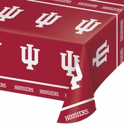 Red and white Indiana University Tablecloths sold in quantities of 1 / pkg, 12 pkgs / case