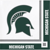 Green and white Michigan State Beverage Napkins sold in quantities of 20 / pkg, 12 pkg / case